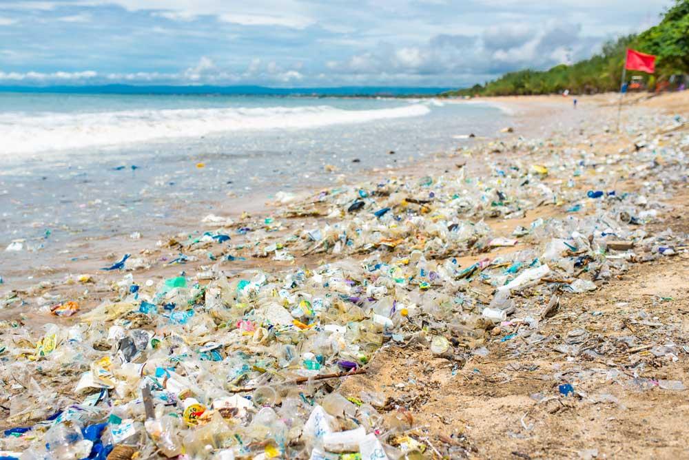 Indonesian polluted beach full of plastics